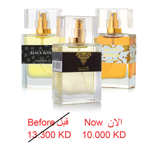 PERFUME SPRAY 30 ML 3 PCS -  GHOSSON + RAWAFED + BLACK ROSE