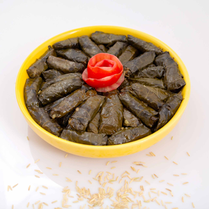 Grape leaves stuffed with soaked brown rice